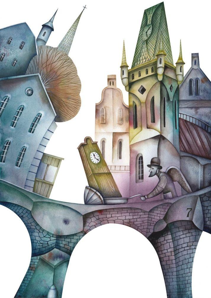 Необычный город рисунок