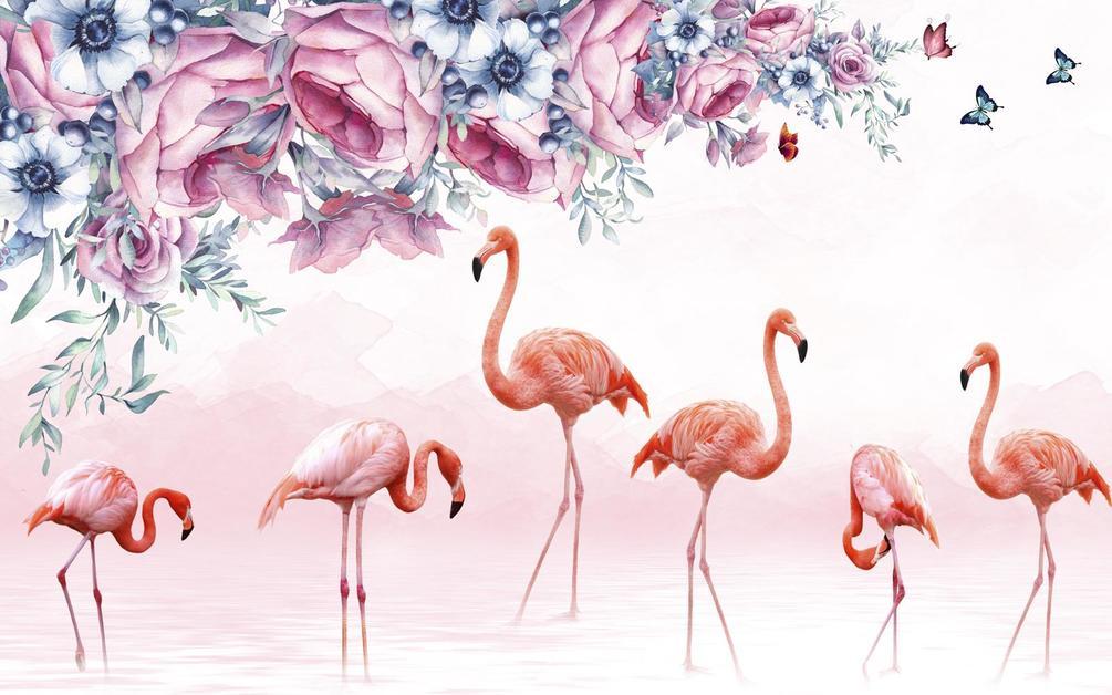 флизелина картинка с фламинго на голубом фоне должна быть