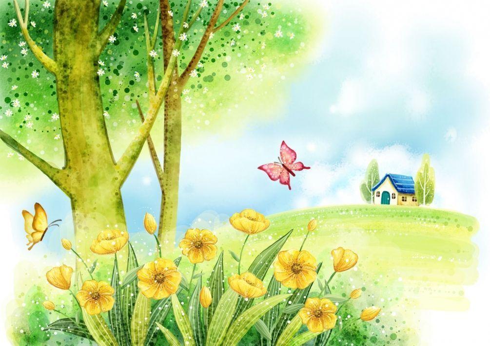 Поляна с цветами картинки рисунок