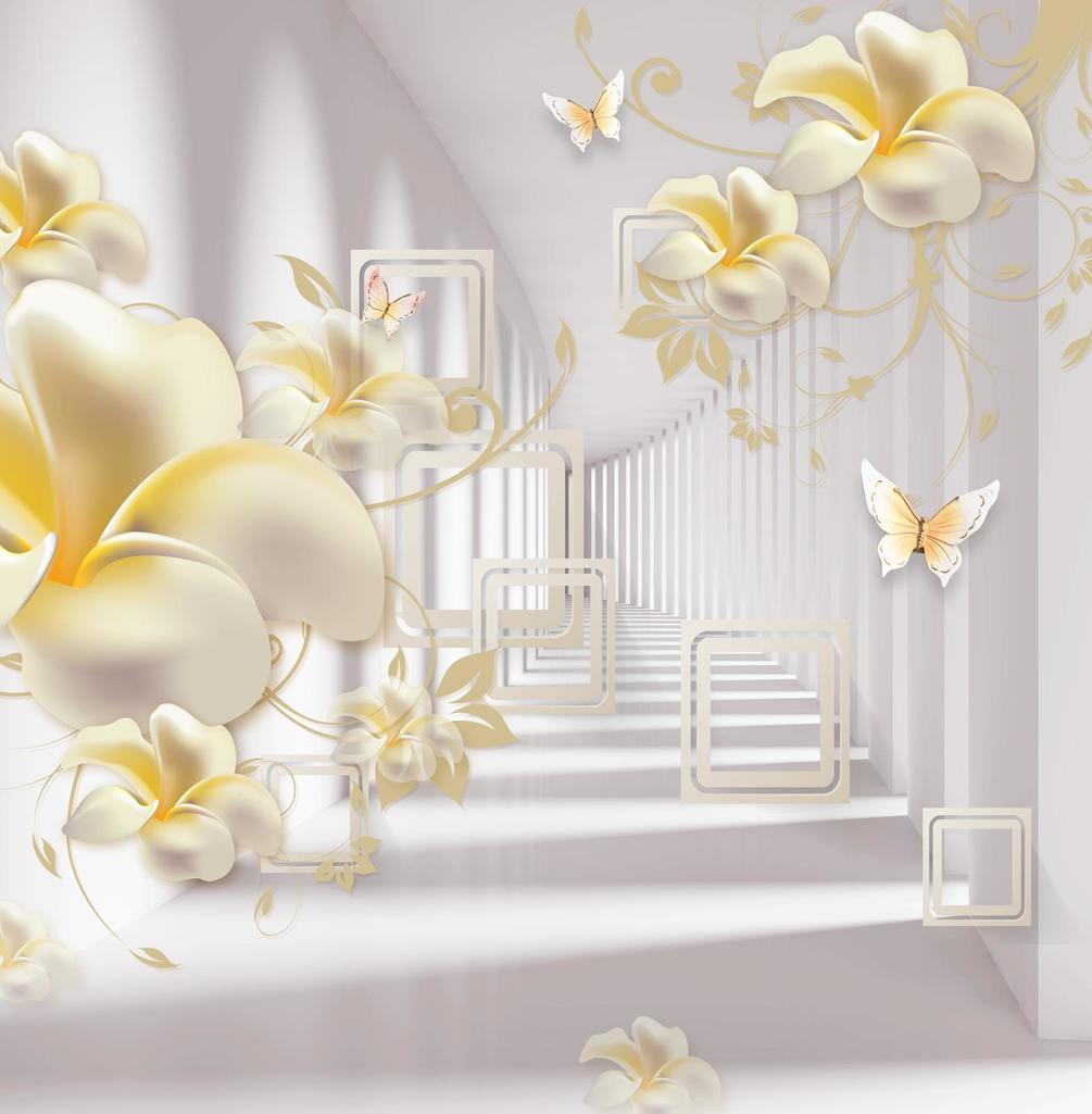 Фотообои Цветы с бабочками, расширяющие пространство. Арт ...