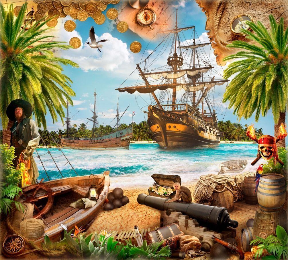 Открытка для детей пираты, маленькие