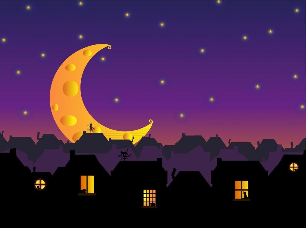 Луна город рисунок