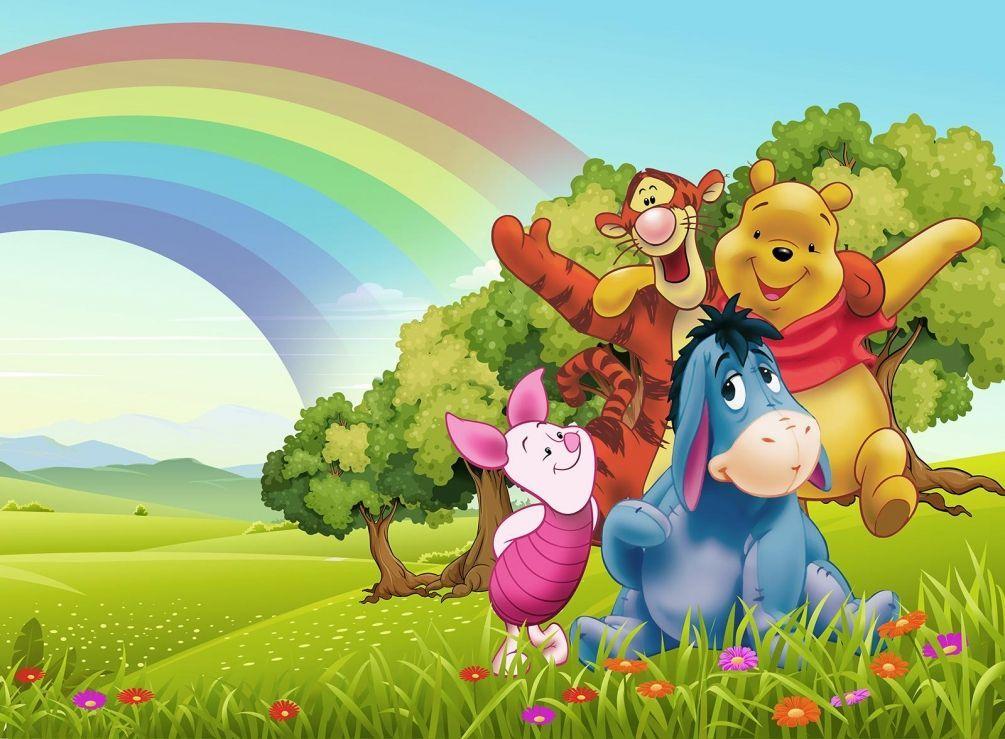 Детские фотообои Винни Пух и его друзья на поляне на стену ...