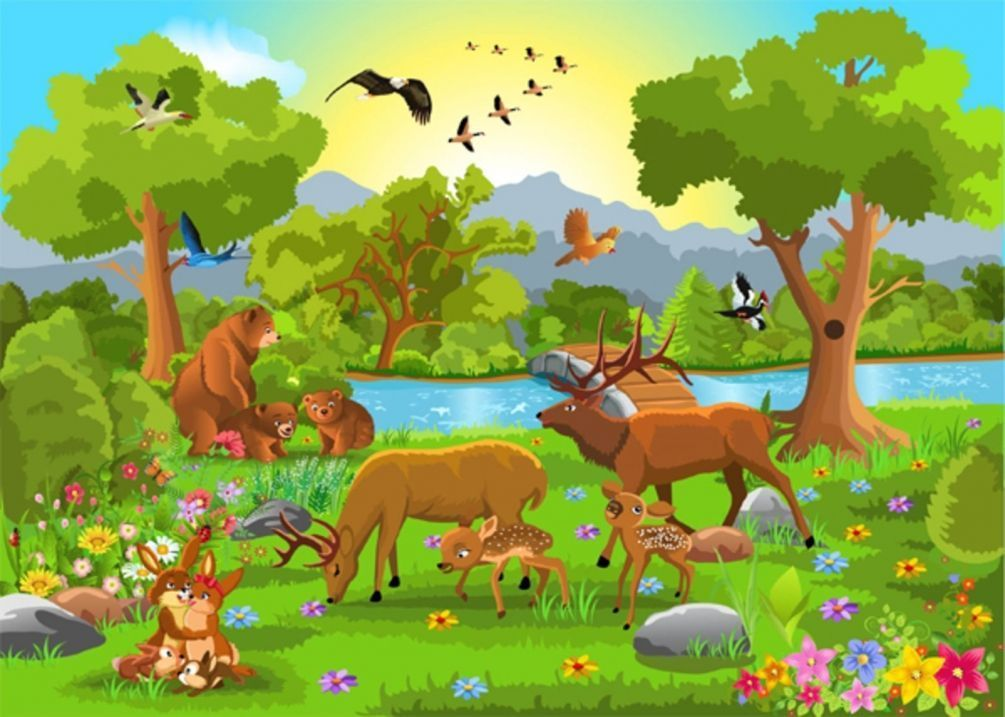 Открытки, картинка животные в лесу для детей