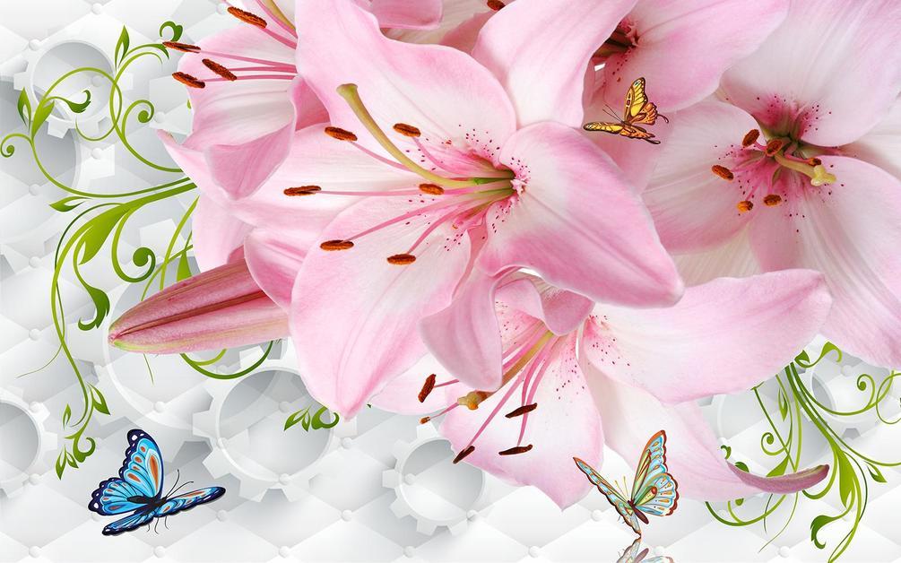 Открытка с цветами лилии