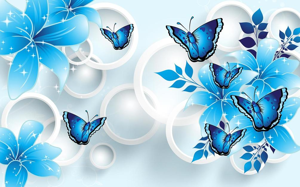 Фотообои на стену Синие цветы с бабочками. Артикул №38123 ...