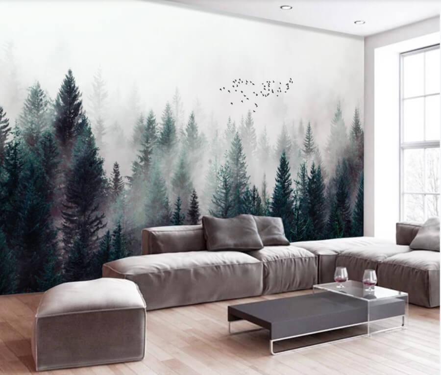Панорама леса создаст умиротворяющую атмосферу в спальне