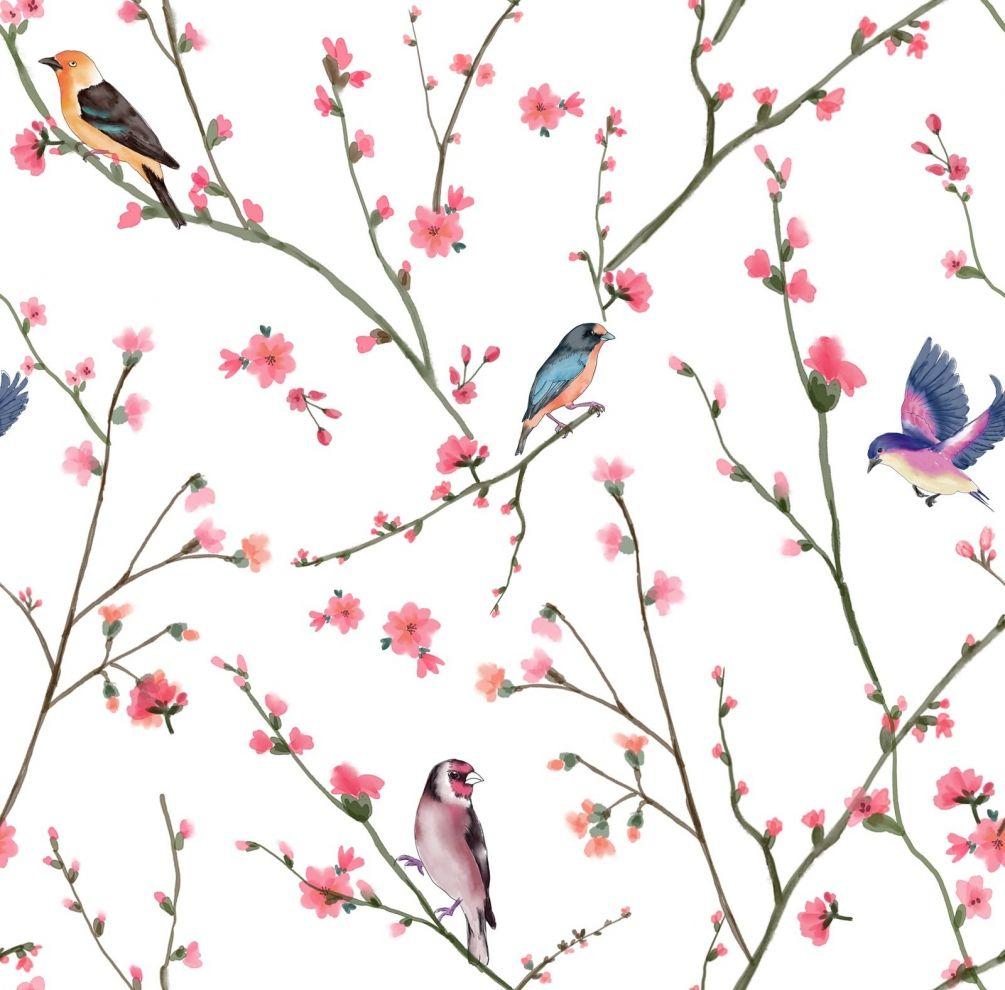 Обои птички на ветке на стену