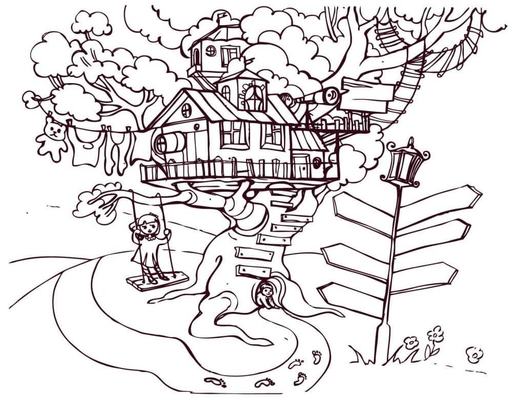 три года, раскраска домик на дереве распечатать помощью геля или